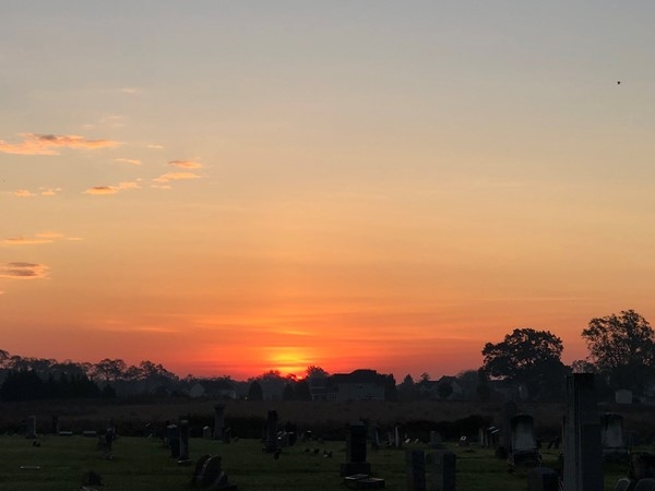 Sunrise over Mansfield Cemetery