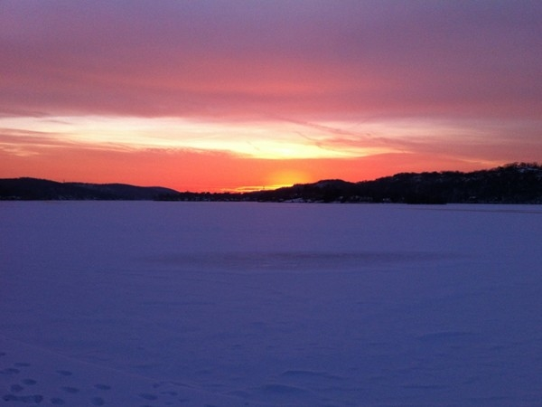 Beautiful sunset over a frozen Lake Mohawk