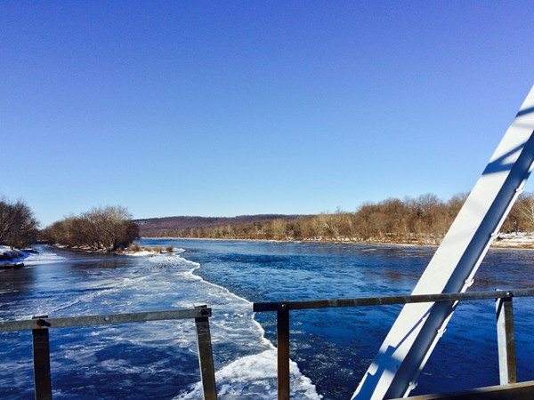 Surprising that the Delaware River is not frozen! View from Washington Crossing Bridge