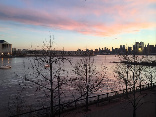 January sunrise over the Weehawken Harbor. The Hudson River overlooking Manhattan