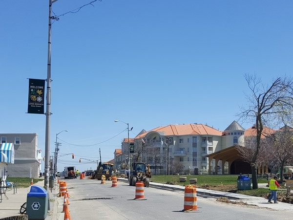 New streetscape looking to West End section of Long Branch. New paver sidewalks and trees coming