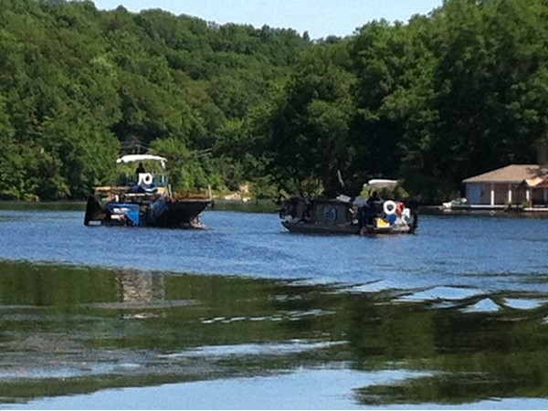 Weed harvesters work to remove weeds from Riverstyx Cove on Lake Hopatcong