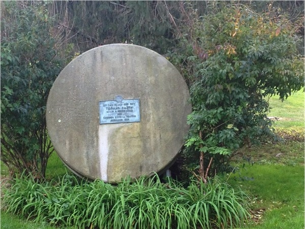 Thomas Eaton's Grist Mill's old wheel in Wampum Park