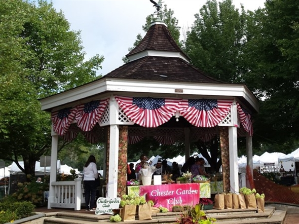 The Chester Garden Club uses this gazebo, which we built for the town, for our fundraiser