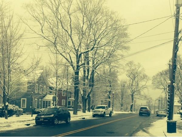 Main Street Netcong first snow fall December 2012