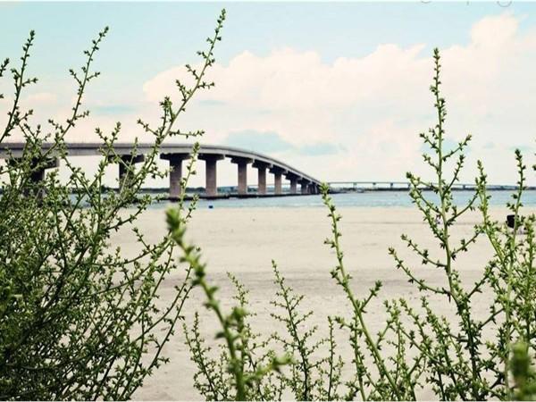 Quiet beach with view of OC-Longport bridge