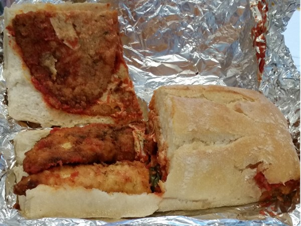 Wow ! What a sandwich.  Chicken Cutlet and Eggplant Parm sandwich from Pete's Deli