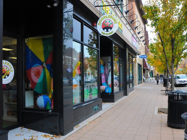 Local businesses line the streets of Madison