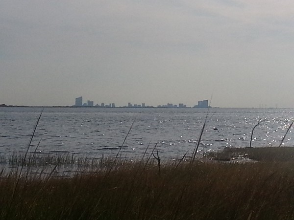 "View of Atlantic City from the beach at the end of Great Bay Blvd, also know as ""7 Bridges Road""."