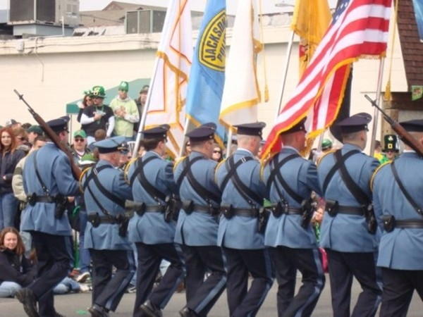 Color guard marching in the St. Patrick's Day Parade