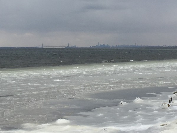 View from the harbor in Atlantic Highlands. Looking across the bay at the New York City skyline