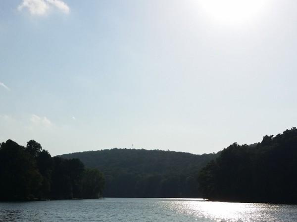 Sun shining on Pleasant Valley Lake