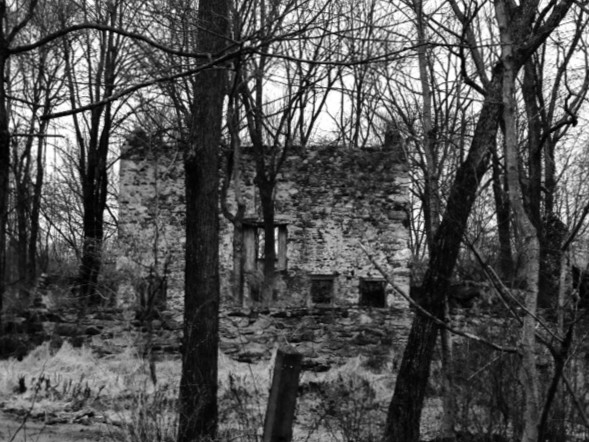 While driving around on a wintery day in Lebanon Township what's left of a Stone home from the early