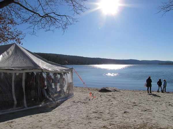 Lake Mohawk during wintertime. Performance tent on the left