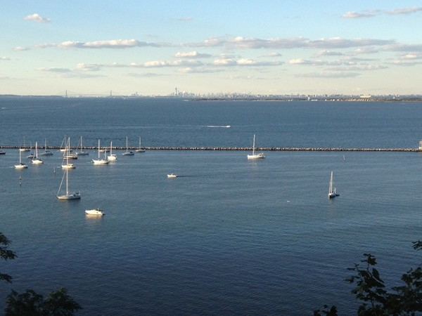 Great view of the sailboats in the bay and New York City from Ocean Boulevard