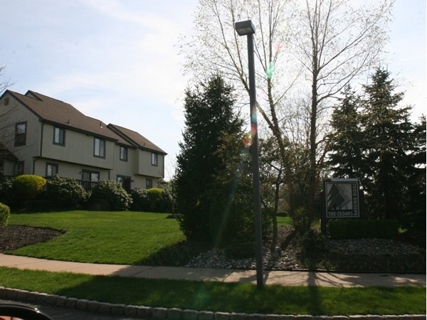 The Cedars entrance directly across from the VA Lyons campus, golf course & Pleasant Valley Park