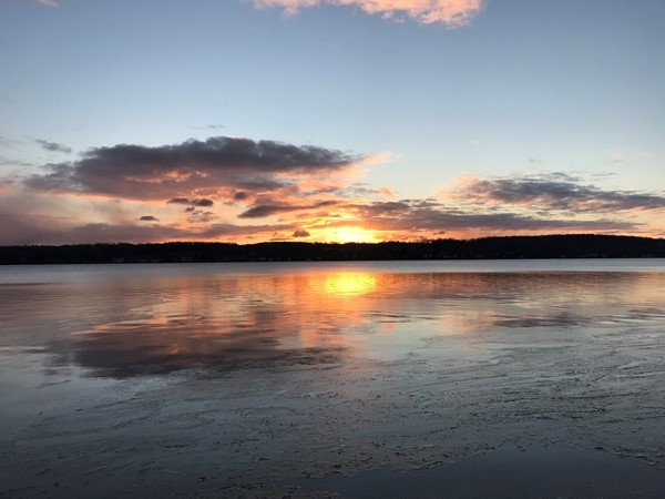 Conesus Lake sunrise just as ice is beginning to form on the water