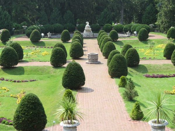 View of the formal gardens from the second floor balcony of the Sonnenberg Mansion