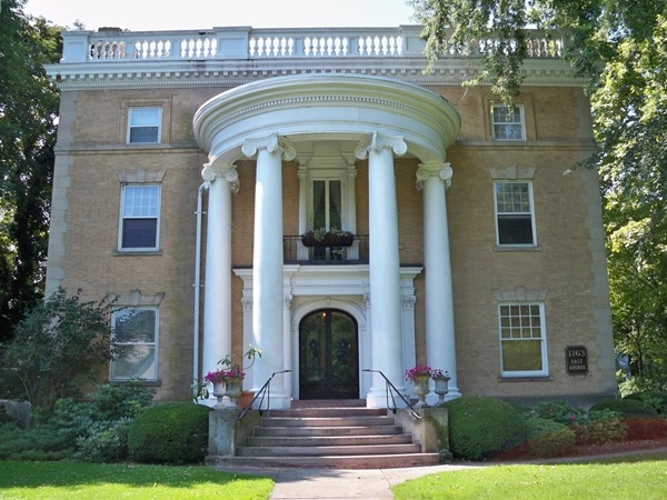 Federal style brick mansion at 1163 East Avenue
