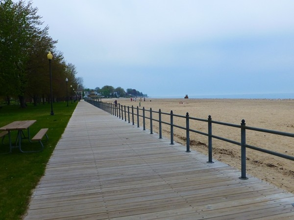 Stroll on the boardwalk by the lake in Ontario Beach Park