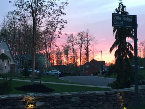 Beautiful sunset overlooking Villa Ridge Court in Radisson
