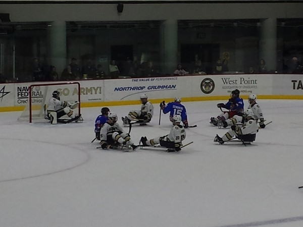 Sled Hockey at West Point.  Army hosting the Rough Riders