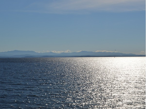 Views are always beautiful looking out over Lake Champlain toward the Green Mountains of Vermont.