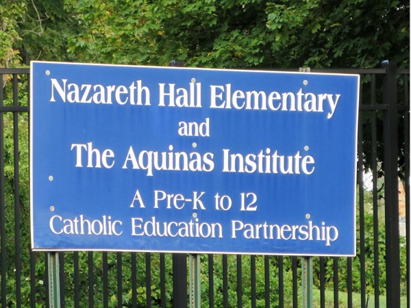 Sign for Nazareth Academy on Lake Avenue in Rochester