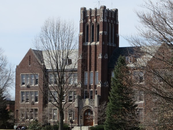 Prominent historic building on the campus of Nazareth College founded in 1924 in Pittsford