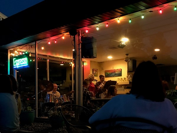 Beautiful summer night listening to The Gioia's play at 2 Alices Coffee Lounge