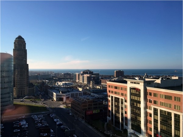 View from the Avant Building showing downtown Buffalo and Lake Erie