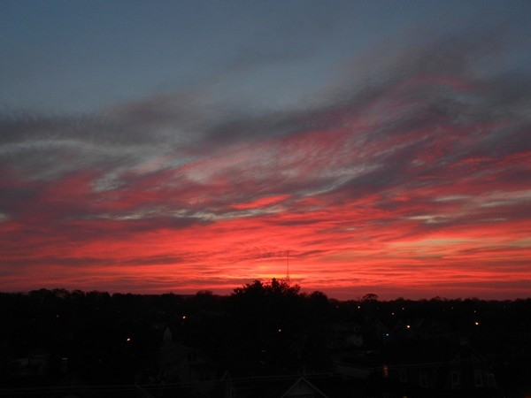I love viewing the awesome sunrises over the rooftops in Freeport