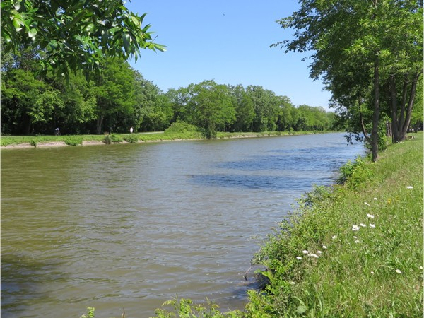 Erie Canal with the foot and bike path in Pittsford near East Street