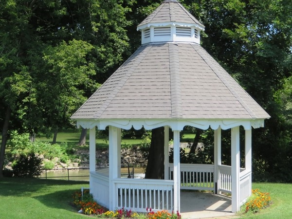 Gazebo by the river in the Veterans Memorial Park in Rush