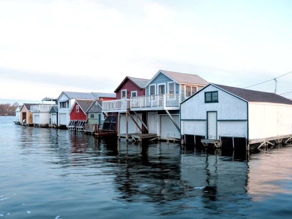 The historic boat houses located at Canandaigua City Pier
