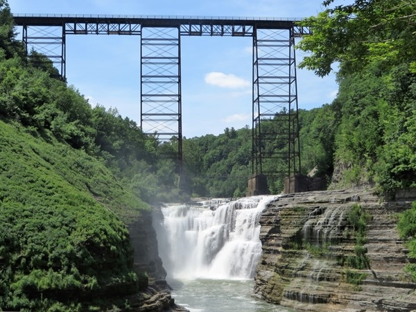 Upper Falls with the train tressel going over at Letchworth State Park near Portage