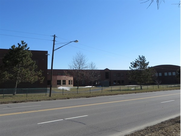 Backside view of East Rochester High School from Rt. 31F