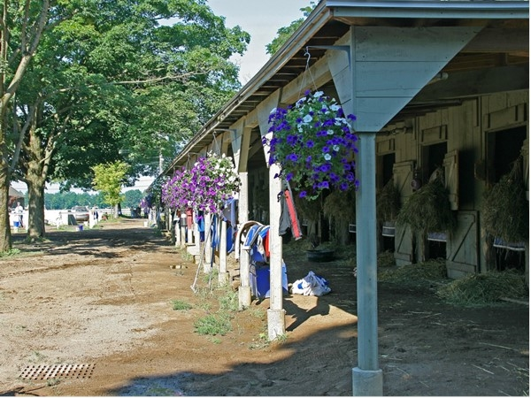 Oklahoma Track stables in August