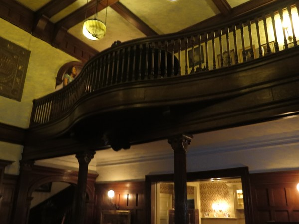 Second floor balcony overlooking the great room at the Sonnenberg Mansion