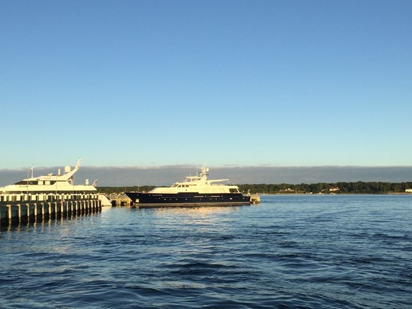 Private yacht docked in Greenport Harbor