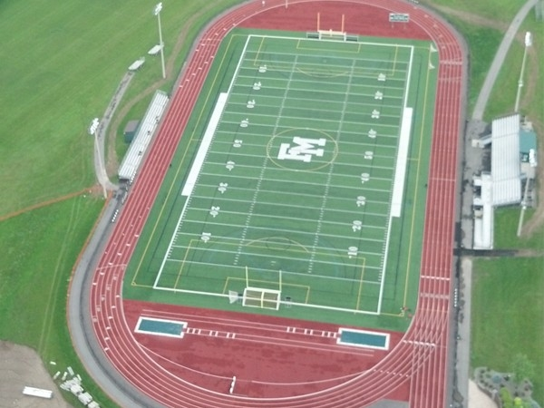 Birds eye view of F-M High School football field from hot air balloon festival flight June 2013