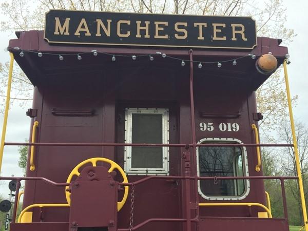 Railroad passenger car that went through Manchester years ago
