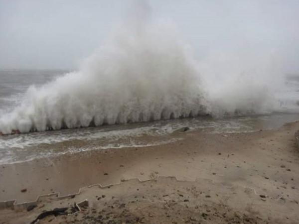 Storm on beach near Gurney's Inn