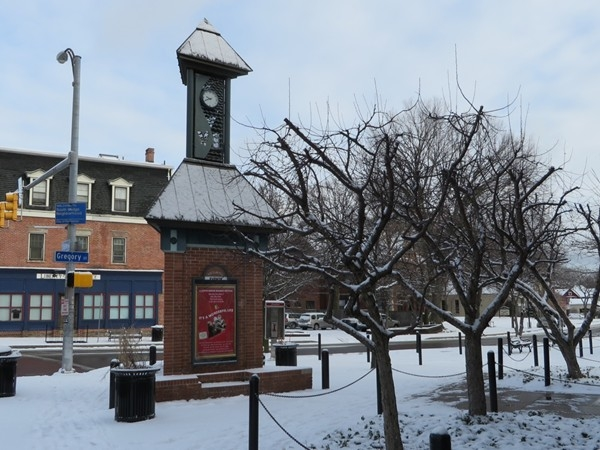 Clock tower in the Southwedge at South Avenue and Gregory Street