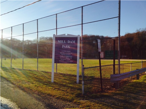 Mill Dam Park has a playground and lighted baseball fields