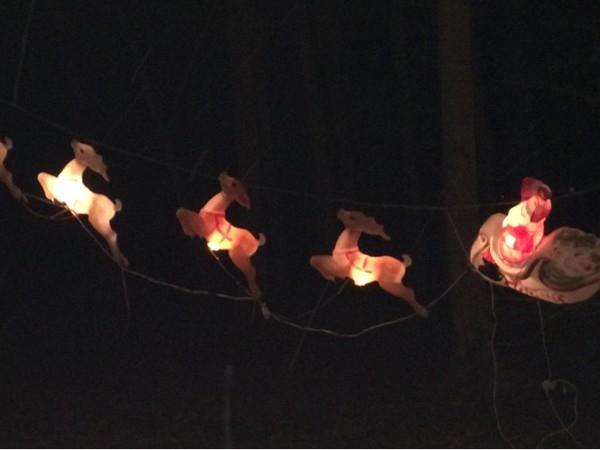 Santa and his reindeer at Watt Christmas Wonderland in Goshen
