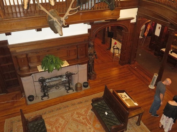 Massive fireplace in the great room at the Sonnenberg Mansion