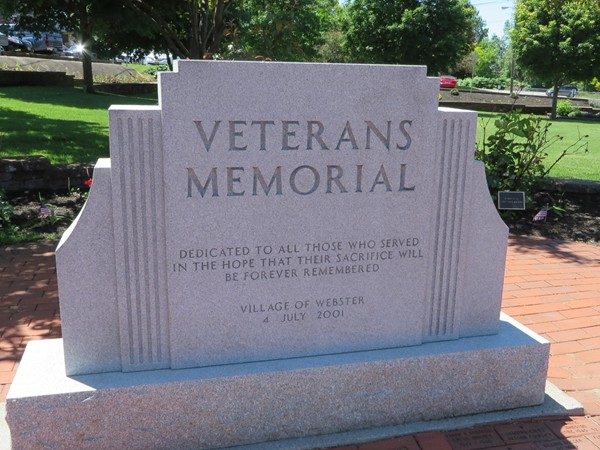 Monument dedicated to the Veterans in Veterans Park in the Village of Webster