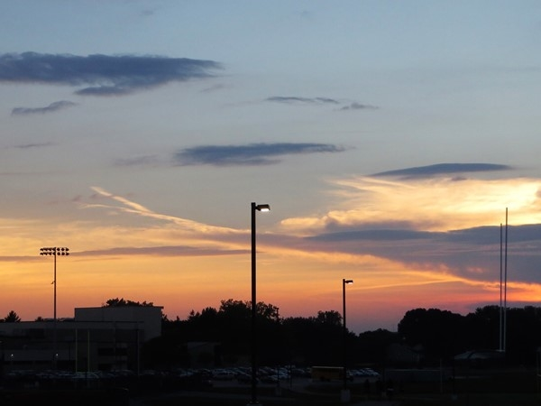 Sunset sky over the Penfield High School atheletic fields