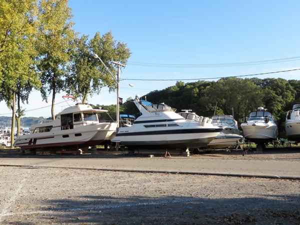 Boats waiting for shrink-wrap at the end of the summer at SouthPoint Marina on Irondequoit Bay